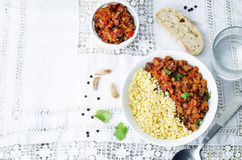 Buttered millet with tomato eggplant curry Stock Photography