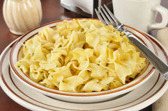 Buttered noodles with parsley. A bowl of buttered noodles with parsley Royalty Free Stock Photography
