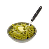 Buttered Spinach Pasta Fork Cheese Stock Image