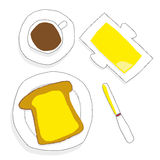 Buttered Toast For Breakfast Royalty Free Stock Photography