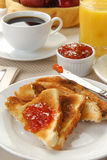 Buttered toast with jam Stock Photos