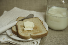 Buttered Toast with Milk Royalty Free Stock Photo