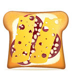 Buttered toast sausage and cheese vector illustration Royalty Free Stock Photo