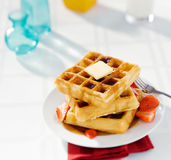 Buttered Waffles with Strawberries Royalty Free Stock Images