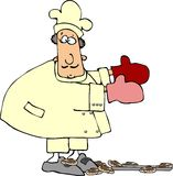 Butterfinger Chef. This illustration depicts a chef with a dropped pan of cinnamon rolls Royalty Free Stock Image