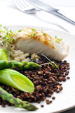 Butterfish with green lentils Stock Image