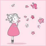Butterflieas que soplan de la muchacha Fotografía de archivo