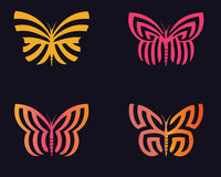 Butterflies. Stylized butterflies in beauty colorful with black background Royalty Free Stock Photo