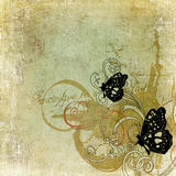 Butterflies. Illustration of butterflies on vintage paper Stock Photography