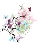 Butterflies. Illustration of a floral background with butterflies Stock Images