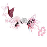 Butterflies. Illustration of a decorative background with flowers and butterflies Stock Photo