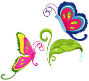 Butterflies. Illustration of isolated colorful butterflies with green leaf stock illustration