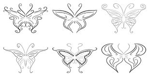 set of stylized isolated Butterflies Stock Photos