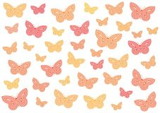 Butterflies. Many butterflies of different sizes and hues Stock Image