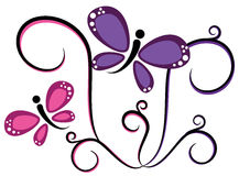 Butterflies. Pretty purple pink colorful butterflies Royalty Free Stock Photos