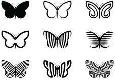 Butterflies. 9 Butterfly shapes vector illustration Royalty Free Stock Photography