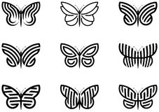 Butterflies. 9 Butterfly shapes vector illustration Stock Photos