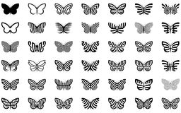 Butterflies. Forty two abstract butterfly shapes Royalty Free Stock Photography