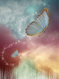 Butterflies. Big butterflies in the sky with fantasy sky royalty free illustration