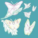 Butterflies. Images of butterflies on flowers vector, color Stock Illustration