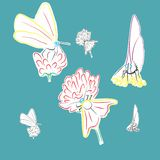 Butterflies. Images of butterflies on flowers , color Vector Illustration