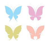 Butterflies. Four hand drawn silhouettes of Butterflies Royalty Free Stock Image