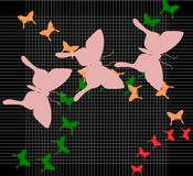 Butterflies background with stripes royalty free stock photos