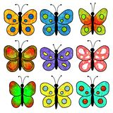 Butterflies. 9 butterflies of different textures and colors Royalty Free Stock Photography