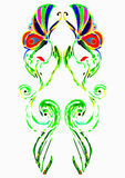 Butterflies. The decorative drawing, two butterflies on grass stalks Stock Photo