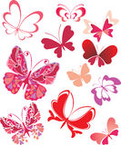 Butterflies. Made of heart-shapes Royalty Free Stock Photography