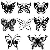 Butterflies. Set of 8 Assorted butterfly silhouettes Royalty Free Stock Image