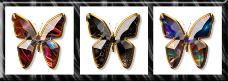 Butterflies. Illustration of butterflies imitating a jewel framed with gold Royalty Free Stock Photo