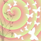 Butterflies on abstract colorful background stock illustration