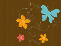 Free Butterflies And Flowers On Wood Stock Images - 6130614