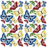 Butterflies background. Seamless butterfly background, red, blue and yellow butterflies isolated on white stock illustration