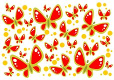 Butterflies background. Red butterflies and green dots on a white background Royalty Free Stock Photo