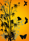 Butterflies and bamboo on yellow Stock Photos