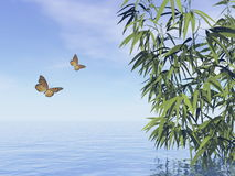 Butterflies and bamboos - 3D render Stock Photography