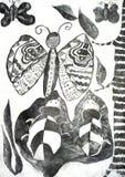 Butterflies and beetles vector illustration