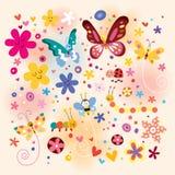 Butterflies Beetles Flowers Royalty Free Stock Image