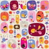 Butterflies beetles snails bees flowers nature pattern. Cute butterflies beetles snails bees flowers nature pattern royalty free illustration