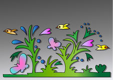 Butterflies and birds on a gray background Royalty Free Stock Image
