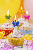 Butterflies birthday candles Royalty Free Stock Photo