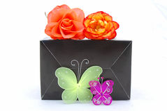 Butterflies on black box Stock Photo