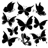 Butterflies, black silhouettes Royalty Free Stock Images