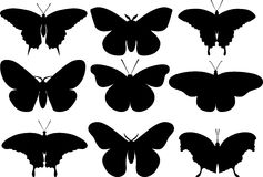 Butterflies black silhouettes on white background. Vector illustration. Stock Image