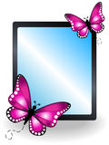 Pink butterfly message board Royalty Free Stock Photo
