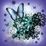Butterflies and Blossoms Illustration. Butterflies and blossoms purple colored illustration Stock Photo