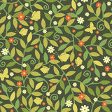 Butterflies Among Branches Seamless Pattern Royalty Free Stock Image