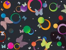 Butterflies and bubbles in retro colors Stock Photos